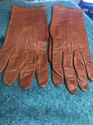 VINTAGE 1940s GLOVES REAL CAPE LEATHER.HAND MADE BY F. P.C. England . VGC