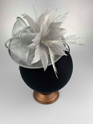 Silver Grey Ladies Fascinator Sinamay Hatinator Headpiece Fascinators Wedding Uk