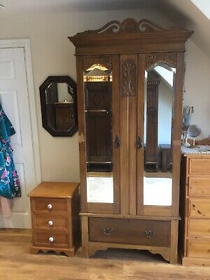 Antique Armoire Wardrobe Mirrored 19th Century.