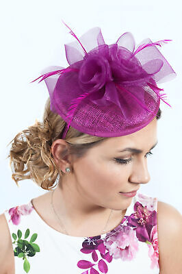 Magenta Fascinator Ladies Hatinator Wedding Guest Race Day Ascot Hats RRP £45