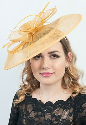 Mustard Large Fascinator Ladies Hatinator Hats Race Day Fashion Wedding Guest