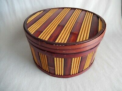 Vintage Chinese Bamboo Round Wooden Box with Lid