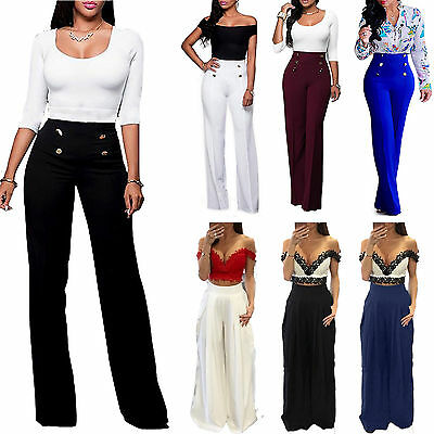 Women Wide Leg Flared Palazzo Trouser OL Casual Party Loose Long Tall Pants Size