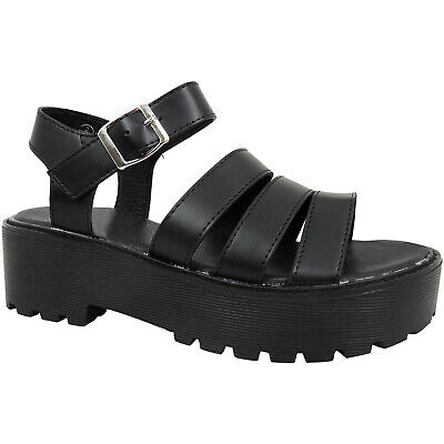 Womens Ladies Low Wedge Platform Chunky Buckle Strappy Shoes Sandals Gladiators