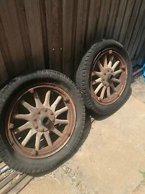 antique wooden tyres and rims - 12 spoke