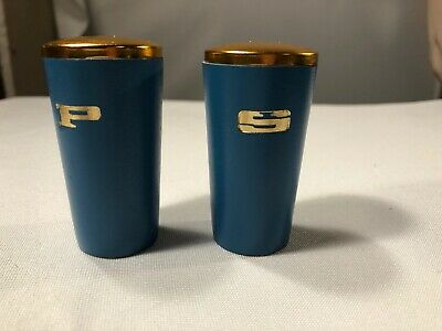 Vintage Mid Century Modern Slate blue Wood Salt & Pepper Shakers