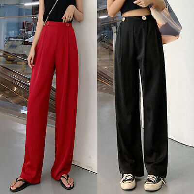 Womens High Waist Straight Loose Fit Pants Office Work Career Wide Leg Trousers