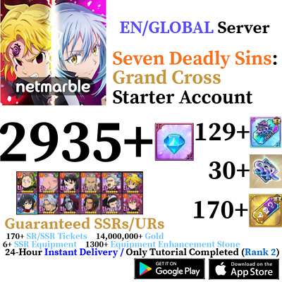 [GLOBAL] [INSTANT] 148+ Gem 9+ SSR Seven Deadly Sins Grand Cross Starter Account