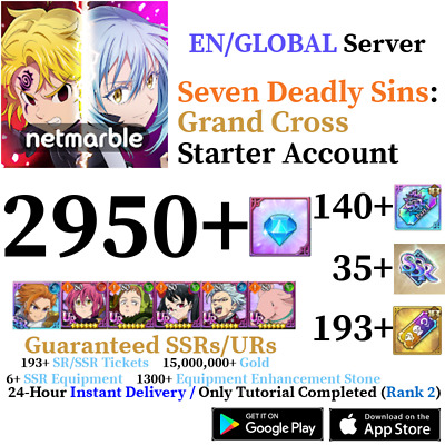 [GLOBAL] INSTANT 220+ Gems 12+ SSR Seven Deadly Sins Grand Cross Starter Account