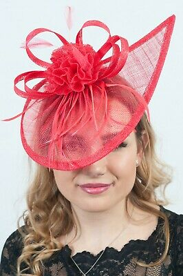 Red Ladies Fascinator Headpiece Millinery Hatinators Sinamay Fascinators RRP£65