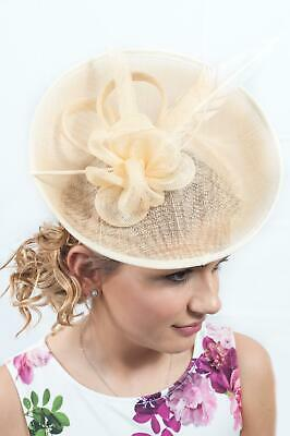 Cream Sinamay Hatinator Ladies Fascinator Race Day Hats Ascot Wedding Guest