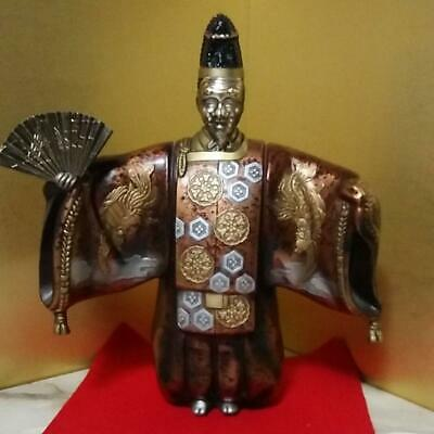 Large Copper Japan Noh Dancer Okina Doll Statue  Vintage Mask with Fan