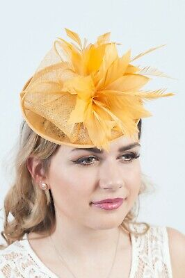 Mustard Fascinator Hatinator Race Day Headpieces Sinamay Fascinators Ascot Hats