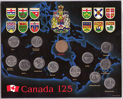 1992 Canada's 125th 25 cent Provincial coin set