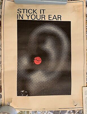 """Vintage Columbus Radio Station Advertising Poster 1970s * WNCI """"Stick it in Ear"""""""