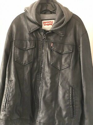 Levi Strauss Faux Leather Jacket Zip Up With Hoodie Size XLarge