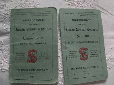 Singer Sewing Machine Instruction Booklets Vintage X 2 No. 66 Class 31K 1920