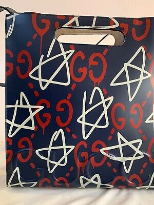 NWT GUCCI GRAFFITI  Trouble Andrew blue GHOST GG LEATHER TOTE AUTHENTIC unisex