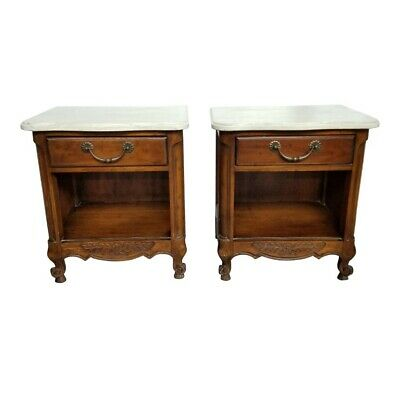 Pair Vintage Drexel French Country Carved Marble Top Nightstands Side Tables