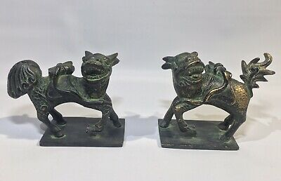 Antique Ming Dynasty Xuande Bronze Chinese Foo Dog Statue Pair