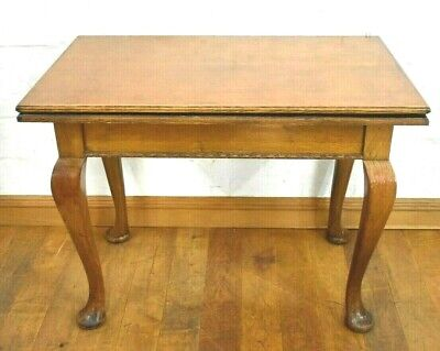 Antique oak turn over top console tea table / games table / work table