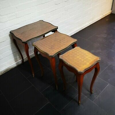 Vintage French Louis XV Style Nest of 3 Tables Parquetry Tops