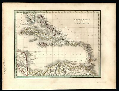 Caribbean West Indies Cuba Jamaica Lesser Antilles 1835 Bradford early map