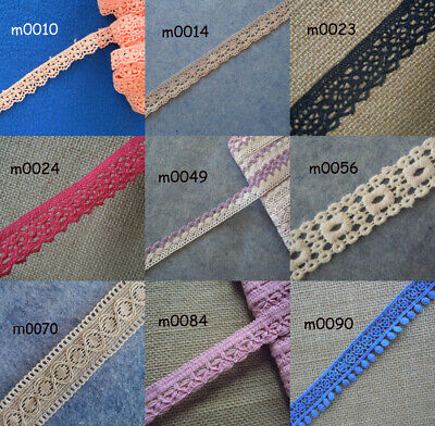 "9 Colors 0.75"" - 1"" Wide Vintage Cotton Crochet Trims Lace zhm2"
