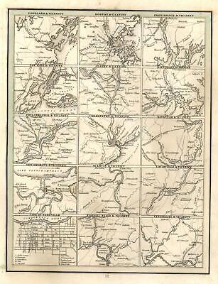 American Cities City Plans Boston St. Louis Nashville 1835 Bradford early US map