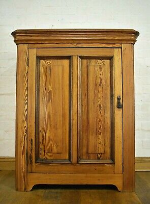 Antique pitch pine side cabinet - bookcase - linen cupboard