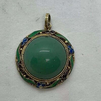 Chinese antique export filigree gilt silver enamel round pendant green jade blue