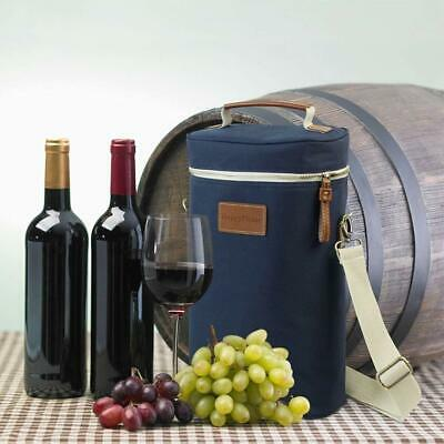2 Bottle Wine Tote Bag,Insulated Wine Carrier Cooler Wooden Cheese Board GIFT AU
