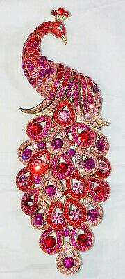 """Vintage Peacock Brooch Large Pink Red Gold Tone Green 5.25"""" Long"""