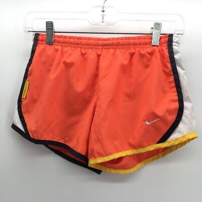 Nike Girls Livestrong Athletic Running Shorts Orange White Black Dri-Fit Mesh M