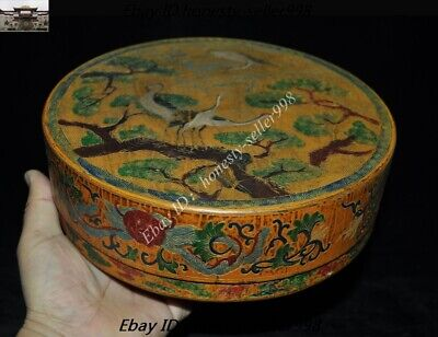 Old Chinese Dynasty lacquerware wood Pine tree Crane Jewelry Boxes storage box