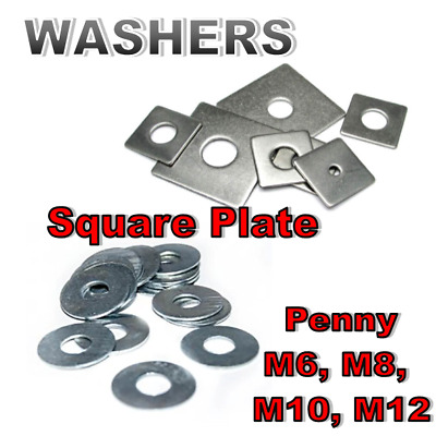 Washers Various Types Unistrut 41x41 square penny M6 M8 M10 M12 - Steel and HDG