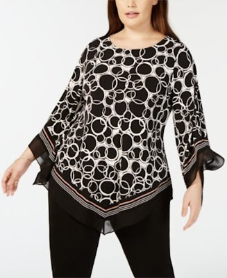 Alfani Women's Plus Size 1X Printed Point-Hem Top NWT $76 (1N38)