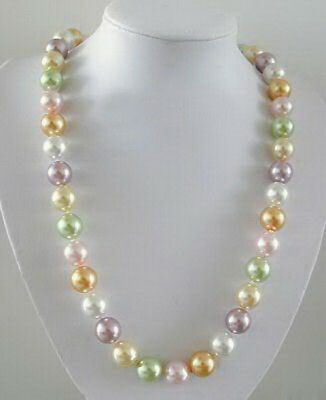Multi-Color White Pink Purple Yellow South Sea Shell Pearl 18KWGP Clasp Necklace