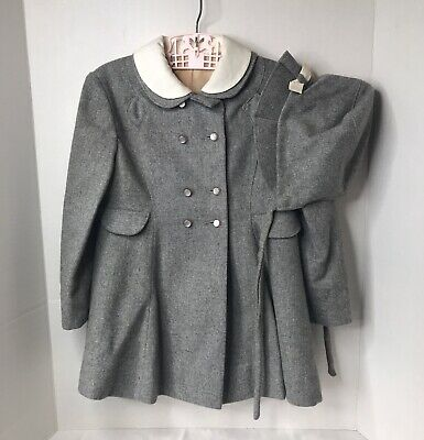 Vintage Girl's Gray  Coat And Matching Hat Beautifully Made - Maybe Size 3?