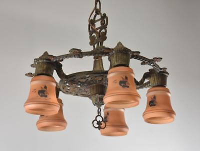 Antique 1920's Five Socket Chandelier Hand Painted Glass Shades Sailing Ships