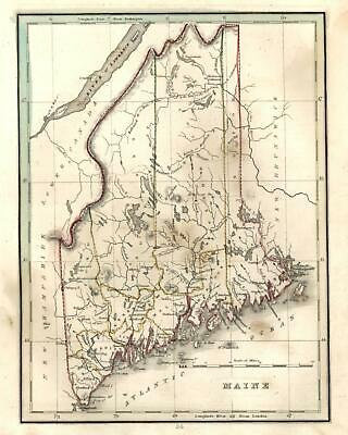 Maine state map 1835 Bradford early U.S. map Thompson #112