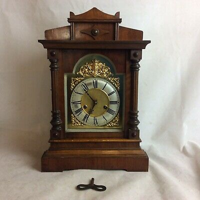 An Impressive Victorian HAC Mantle Clock With  Brass Features & Mahogany Case