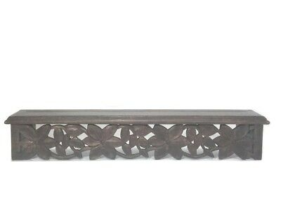 Hand Carved Wood Floral Wall Mount Shelf with Plate Groove India
