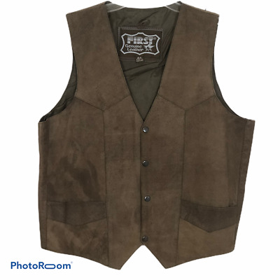 First Genuine Leather Mens Vest Size 44 Brown Suede Western Motorcycle Lined