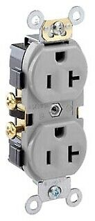 Leviton CR20-GY 20-Amp, 125-Volt, Narrow Body Duplex Receptacle, Straight Blade,