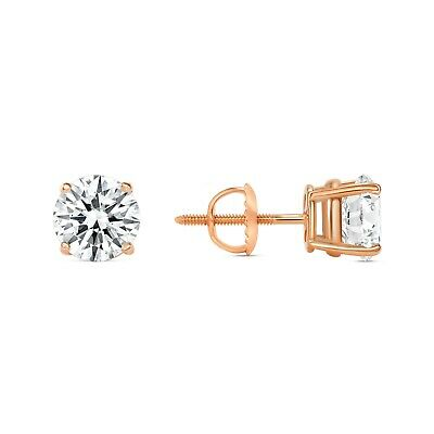 2 Ct Round Created Diamond Earrings Studs Real 14K Rose Gold Basket Screw Back