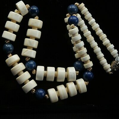 Vtg Estate Chinese Lapis Lazuli 10k Gold Graduated Carved Bead Necklace c1950-80