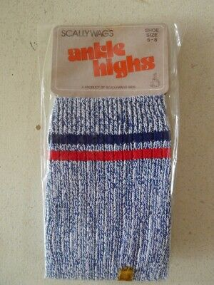 Vintage 70s 3 - 4 years children's unisex blue crew socks 'Scallywags' stripes