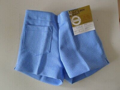 Vintage 70s unused 3 - 4 years children's boys blue check shorts tags