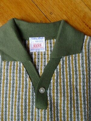 Vintage 50s unused 8 - 10  years children's boys green polo shirt NOS